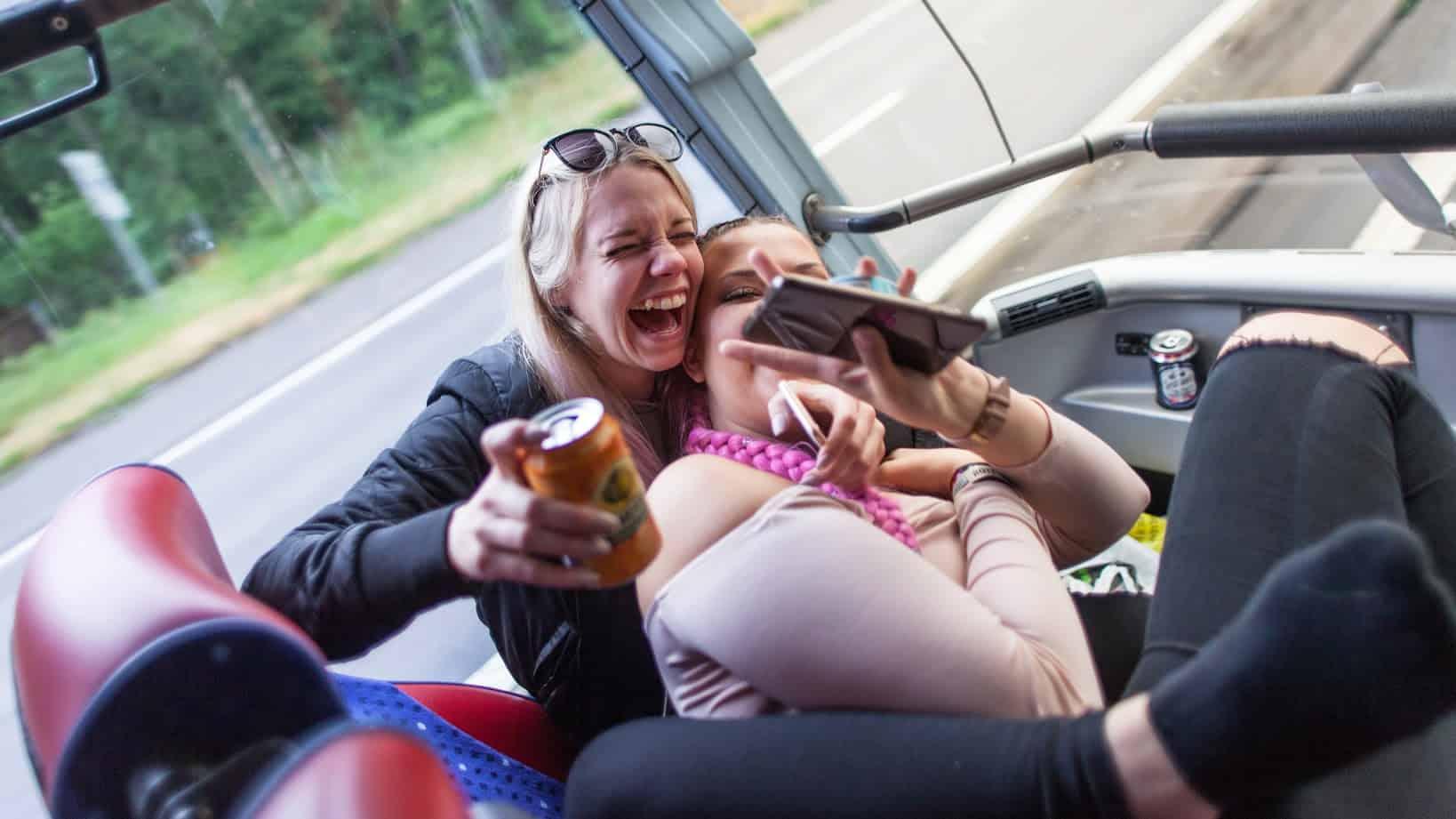 Happy girls on bus