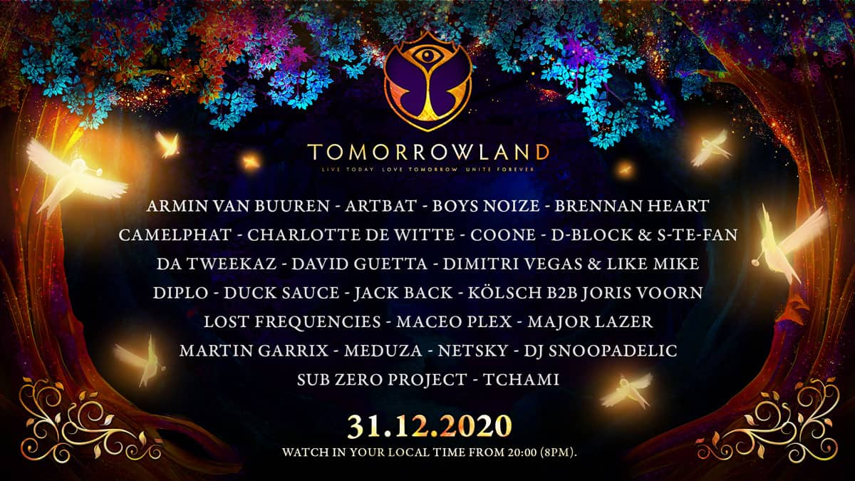 Line-up med alla artister som spelar på Tomorrowlands nyårsfest